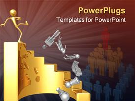 PowerPoint template displaying gold figure at top of circular staircase kicks silver figures down stairs