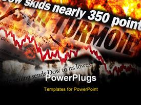PowerPoint template displaying concept depiction of stock market meltdown. Explosion and flames along with many newspaper headlines