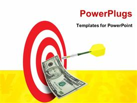 PowerPoint template displaying an arrow hitting the bulls eye with a dollar note