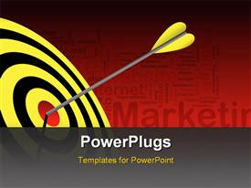 PowerPoint template displaying yellow tailed dart hits red bulls eye of black and yellow target
