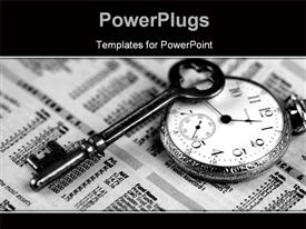 PowerPoint template displaying pocket watch, skeleton key, and business section of newspaper