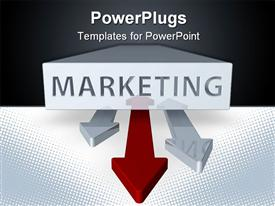 PowerPoint template displaying marketing word printed on a white block and three double sided arrows, two gray arrows and a red arrow on a black and white background