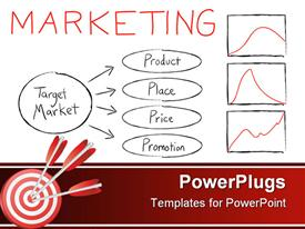 PowerPoint template displaying chart with four marketing strategies, with three graphs and three red darts
