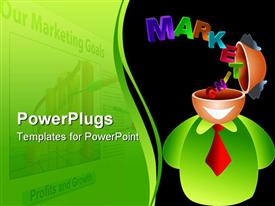 PowerPoint template displaying a smiling figure with the words marketing