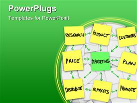 PowerPoint template displaying principles of marketing in a workflow written and posted on sticky notes in the background.