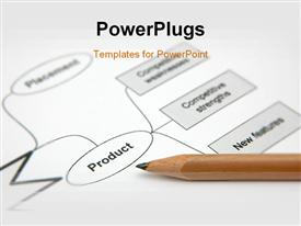 PowerPoint template displaying depiction showing pencil with a printout of a marketing strategy in the background.