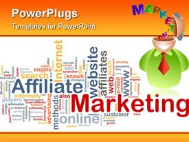 PowerPoint template displaying marketing theme design with depiction of 3D figure with open head and word marketing coming from his head and word cloud with marketing related words