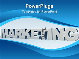 PowerPoint template displaying the word marketing and a ladder in front of blue sky - 3D