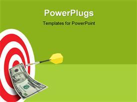 PowerPoint template displaying yellow tailed dart holds ten dollar bill to bulls eye of target