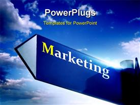 PowerPoint template displaying a marketing sign with a umber of clouds in the background