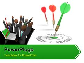 PowerPoint template displaying investors with laptop and green tailed dart hitting bulls eye of target strategy