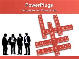 PowerPoint template displaying four men in suits next to red crossword with marketing related words