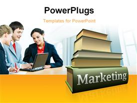 PowerPoint template displaying concept of marketing education in the background.