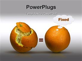 PowerPoint template displaying concept depiction with two oranges to depict solutions