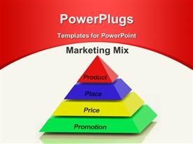 PowerPoint template displaying marketing Mix Pyramid With keywords such as Place, Price, Product, and Promotion