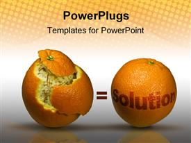PowerPoint template displaying concept depiction with two oranges to depict solutions in the background.