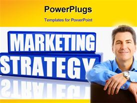 PowerPoint template displaying a person happy because of the marketing