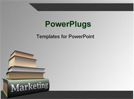 PowerPoint template displaying marketing book pile over grey background with dark edges