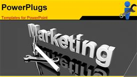 PowerPoint template displaying tools for Marketing. 3D depiction. Concept