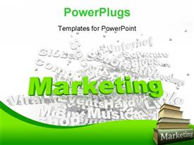 PowerPoint template displaying group of marketing related keywords and marketing books
