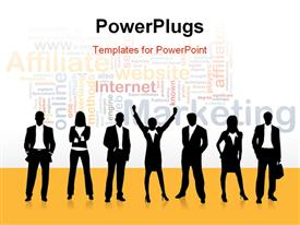 PowerPoint template displaying a silhouette of business men and womenwith different Marketing text