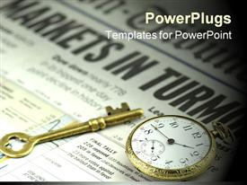 PowerPoint template displaying markets In Turmoil - business concept depiction with old brass key pocket watch and newspaper