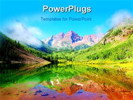 PowerPoint template displaying one of the most beautiful places of the World, Maroon Bells, Aspen, CO, USA in the background.