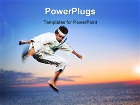 Young boy in karate uniform training at sunset powerpoint design layout