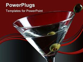 PowerPoint template displaying detail of martini glass and olive in toothpick