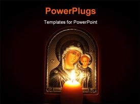 PowerPoint template displaying icon of Kazan Mother of God with Child to which lit a candle