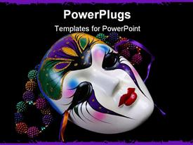 PowerPoint template displaying black background with colorful beads and Mardi Gras mask