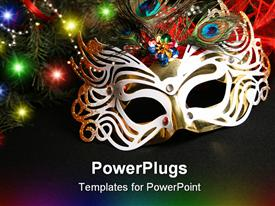 PowerPoint template displaying mask and Christmas light. Carnival the mask is