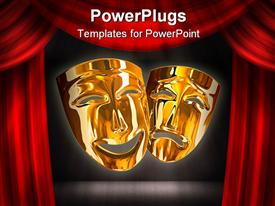 PowerPoint template displaying gold theater comedy and tragedy masks with red stage curtains