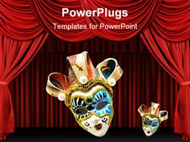 PowerPoint template displaying two Venetian masks on red theater curtains background, one large Venetian mask and one small Venetian mask