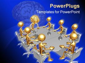 PowerPoint template displaying animated depiction of gold colored humans having a meeting