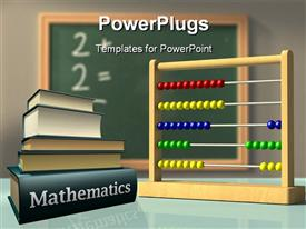PowerPoint template displaying mathematics books and Abacus in front of a chalkboard used to solve simple calculations