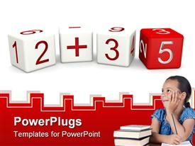 PowerPoint template displaying children mathematics class concept 3D numbers dice