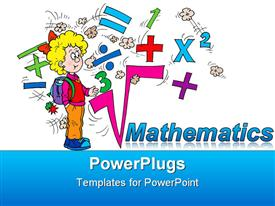 PowerPoint template displaying math related symbols and the word mathematics with a blond girl pupil on white background