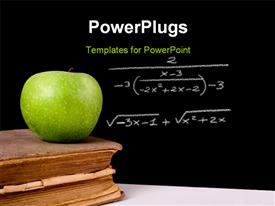PowerPoint template displaying green apple on top of a very old book. Chalkboard with a formula on it as background