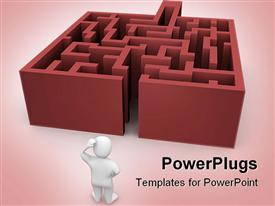 PowerPoint template displaying white 3D figurine thinking in front of labyrinth maze on pink background