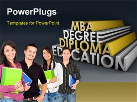 PowerPoint template displaying four people smiling and holding note books with some texts behind them