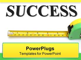 PowerPoint template displaying text SUCCESS and measuring tape depicting measured success achievement