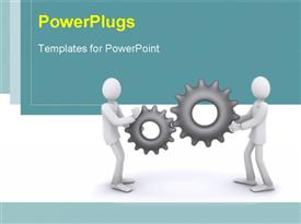 PowerPoint template displaying business people holding industrial gear wheels in hand over blue and white background