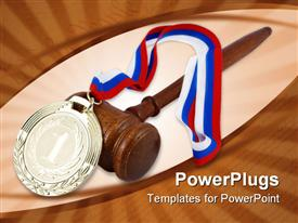 PowerPoint template displaying gold medal with red white and blue ribbon, judge gavel, winner, competition