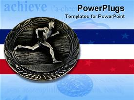 PowerPoint template displaying a coin along with the American flag in the background