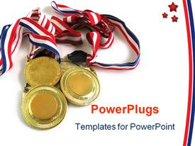 3 gold medals powerpoint template