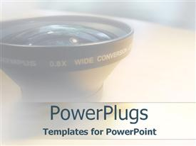 PowerPoint template displaying head of a camera lens on a white hue background