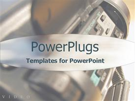 PowerPoint template displaying close-up of video camera