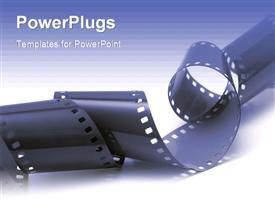 PowerPoint template displaying close up view of a roll of black film