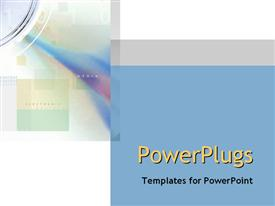 PowerPoint template displaying electronic media content words with pastel boxes, audio digital transfer metaphor